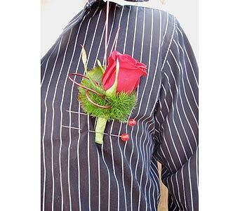 Rich Red Boutonniere in Saskatoon SK, Carriage House Florists