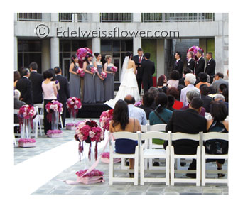 Shades of Pink Wedding Ceremony in Santa Monica CA, Edelweiss Flower Boutique