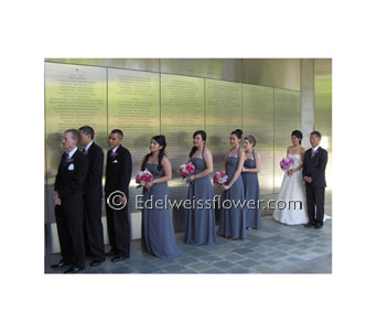 Bridal Party March in Santa Monica CA, Edelweiss Flower Boutique