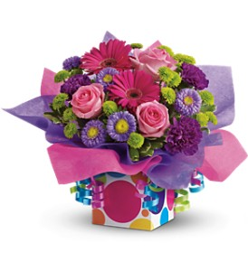 Teleflora's Confetti Present in Palm Coast FL, Blooming Flowers & Gifts