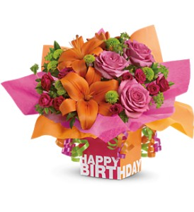 Teleflora's Rosy Birthday Present in Palm Coast FL, Blooming Flowers & Gifts