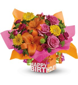 Teleflora's Rosy Birthday Present - Deluxe in Buffalo Grove IL, Blooming Grove Flowers & Gifts