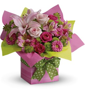 Teleflora's Pretty Pink Present in Palm Coast FL, Blooming Flowers & Gifts
