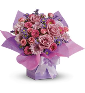 Teleflora's Perfectly Purple Present in Waukegan IL, Larsen Florist