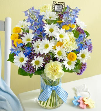 bouquet for Baby Boy with Keepsake Frame in Loganville GA, Loganville Flower Basket