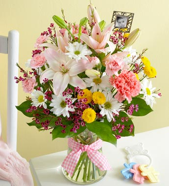 Bouquet for Baby Girl with Keepsake Frame in Loganville GA, Loganville Flower Basket