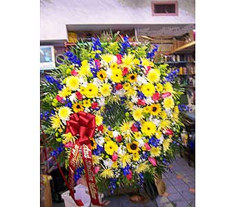 Jewel Toned Standing Wreath in Port Chester NY, Port Chester Florist