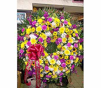 Colorful Open Wreath in Port Chester NY, Port Chester Florist