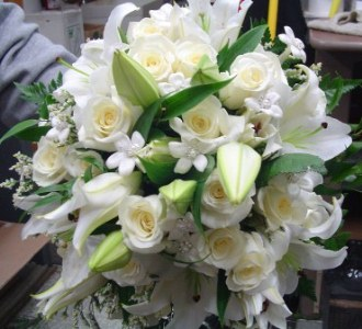 White Roses and Lilies Bridal Bouquet in Nutley NJ, A Personal Touch Florist