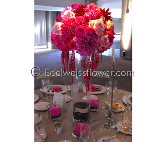 Elegant tall Modern Wedding Centerpiece in Santa Monica CA, Edelweiss Flower Boutique