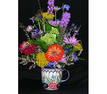 polish pottery mug flower and butterfly design in Warrenton VA, Village Flowers