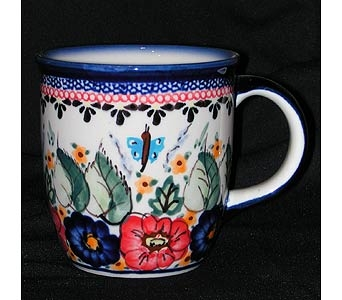 polish pottery mug with butterfly and flowers desi in Warrenton VA, Village Flowers