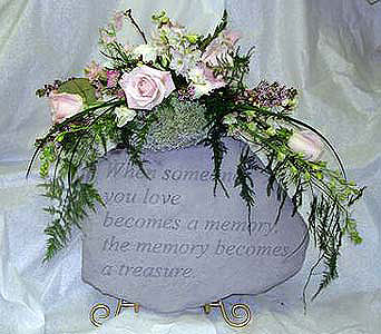 Flower Arrangement With Memory Stone in Crafton PA, Sisters Floral Designs