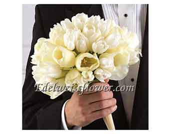 White Tulip Bridal Bouquet in Santa Monica CA, Edelweiss Flower Boutique