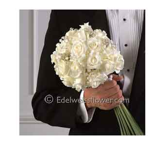 White Rose Beaded Bridal Bouquet Nosegay in Santa Monica CA, Edelweiss Flower Boutique