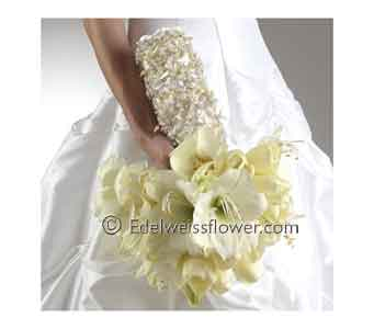 White Amaryllis and Tulip Bridal Bouquet in Santa Monica CA, Edelweiss Flower Boutique