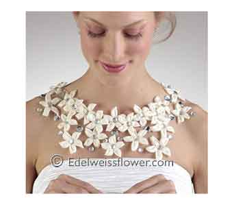 Stepanotis floral necklace in Santa Monica CA, Edelweiss Flower Boutique