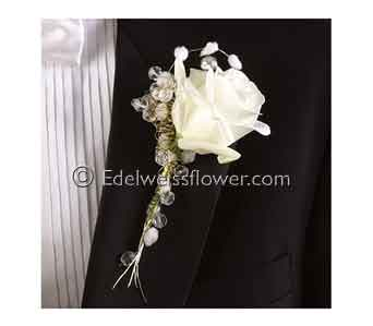 White rose and Beaded Boutonniere in Santa Monica CA, Edelweiss Flower Boutique