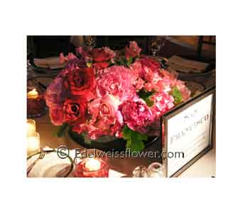 Rose & Peony Lush Floral Centerpiece in Santa Monica CA, Edelweiss Flower Boutique