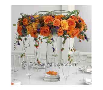 Orange Rose Tall Centerpiece in Santa Monica CA, Edelweiss Flower Boutique