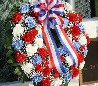 Red White & Blue Wreath Style 022 in Blue Springs MO, Village Gardens