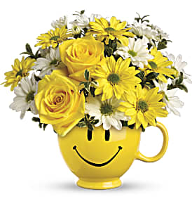 Teleflora's Be Happy Bouquet with Roses in Thorold ON, A Yellow Flower Basket