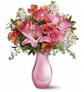 Teleflora's Pink Reflections Bouquet with Roses in Yellowknife NT, Rebecca's Flowers, Too
