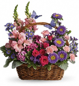 Country Basket Blooms in Innisfail AB, Lilac & Lace Floral Design