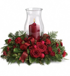 Holiday Glow Centerpiece in North Syracuse NY, The Curious Rose Floral Designs