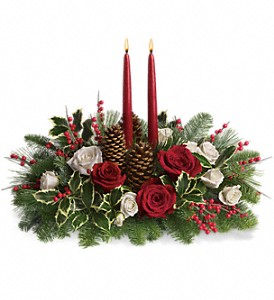 Christmas Wishes Centerpiece in North Syracuse NY, The Curious Rose Floral Designs
