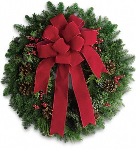Classic Holiday Wreath in North Syracuse NY, The Curious Rose Floral Designs
