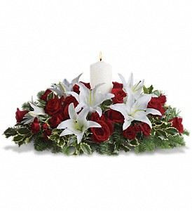 Luminous Lilies Centerpiece in Opelousas LA, Wanda's Florist & Gifts