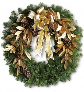 Glitter & Gold Wreath in Des Moines IA, Doherty's Flowers