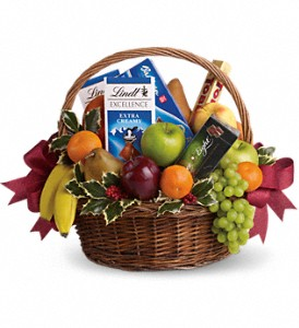 Fruits and Sweets Christmas Basket in Herndon VA, Bundle of Roses