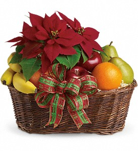 Fruit and Poinsettia Basket in Redwood City CA, A Bed of Flowers