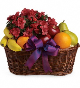 Fruits and Blooms Basket in Ayer MA, Flowers By Stella