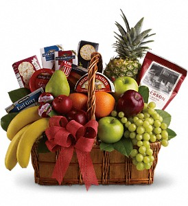 Bon Vivant Gourmet Basket in West Palm Beach FL, Extra Touch Flowers