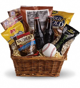 Take Me Out to the Ballgame Basket in Menomonee Falls WI, Bank of Flowers