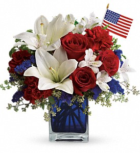 America the Beautiful by Teleflora in Trumbull CT, P.J.'s Garden Exchange Flower & Gift Shoppe