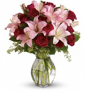 Lavish Love Bouquet with Long Stemmed Red Roses in Innisfail AB, Lilac & Lace Floral Design