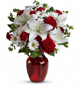 Be My Love Bouquet with Red Roses in Redwood City CA, A Bed of Flowers