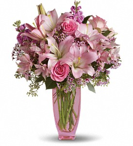 Teleflora's Pink Pink Bouquet with Pink Roses in The Woodlands TX, Rainforest Flowers