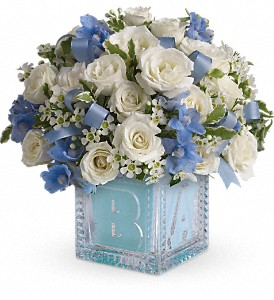 Baby's First Block by Teleflora - Blue in Trumbull CT, P.J.'s Garden Exchange Flower & Gift Shoppe