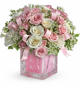 Baby's First Block by Teleflora - Pink in Trumbull CT, P.J.'s Garden Exchange Flower & Gift Shoppe