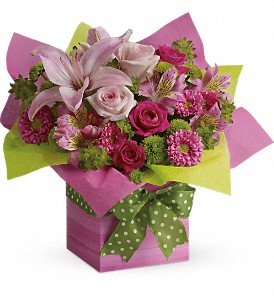 Teleflora's Pretty Pink Present in Santa Claus IN, Evergreen Flowers & Decor