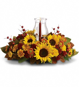 Sunflower Centerpiece in Menomonee Falls WI, Bank of Flowers