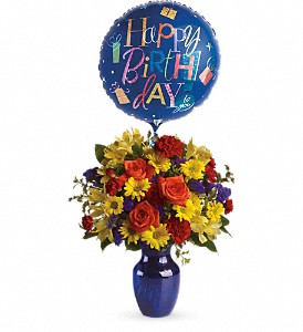 Fly Away Birthday Bouquet in Thorold ON, A Yellow Flower Basket