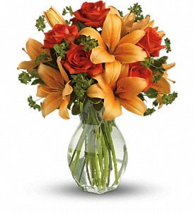Fiery Lily and Rose in Sayville NY, Sayville Flowers Inc