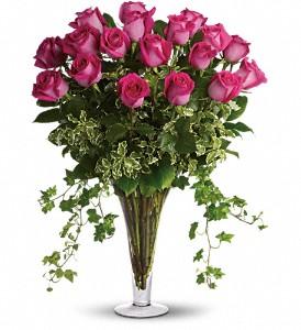 Dreaming in Pink - 18 Long Stemmed Pink Roses in Essex ON, Essex Flower Basket