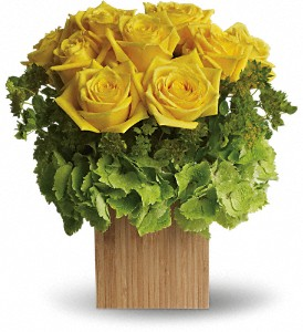 Teleflora's Box of Sunshine in The Woodlands TX, Rainforest Flowers